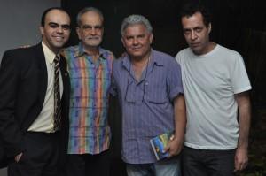 O assessor da AML Petrônio Souza, Maurício Kubrusly, o cantor Tadeu Franco e o produtor musical Branco Monteiro